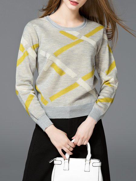 Gray Wool Blend Crew Neck Color-block Long Sleeve Sweater