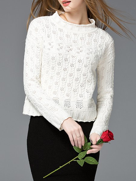 Stand Collar H-line Casual Long Sleeve Sweater