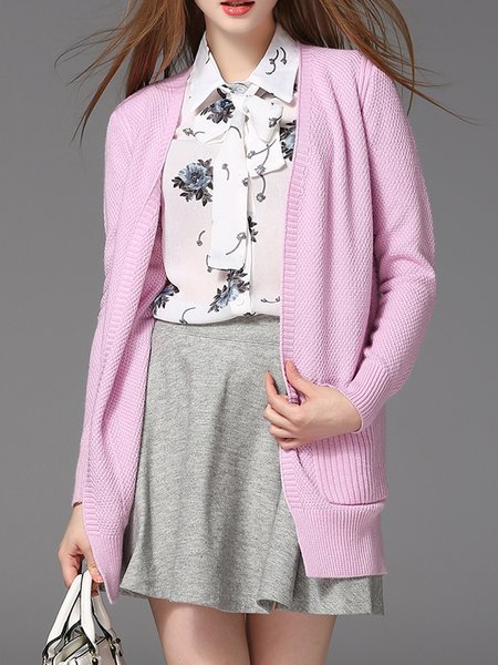 Plain Knitted Simple Long Sleeve H-line Cardigan