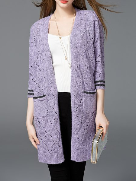 Knitted 3/4 Sleeve Casual  Cardigan