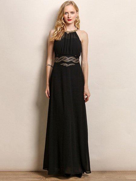 Black Spaghetti Embellished Evening Dress