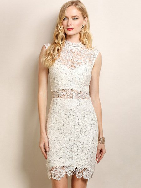 Ivory Sequins Ruffled Pierced Lace Party Dress