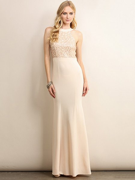 Cream Sequins Sleeveless Mermaid Evening Dress