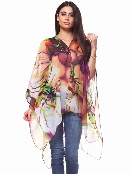 Purple Printed Girly Asymmetrical Kimono