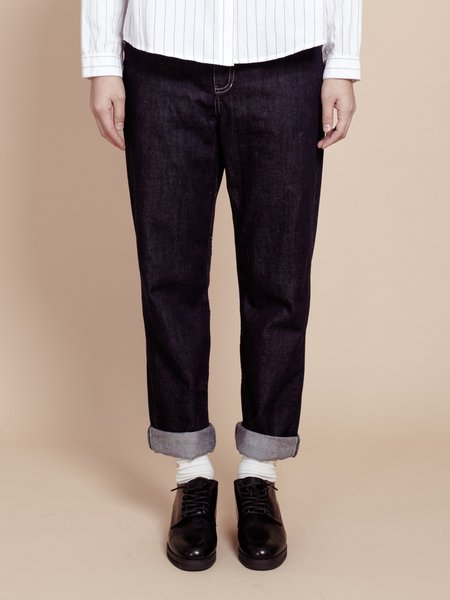 Dark Blue Plain Casual Denim Pockets Straight Leg Pants