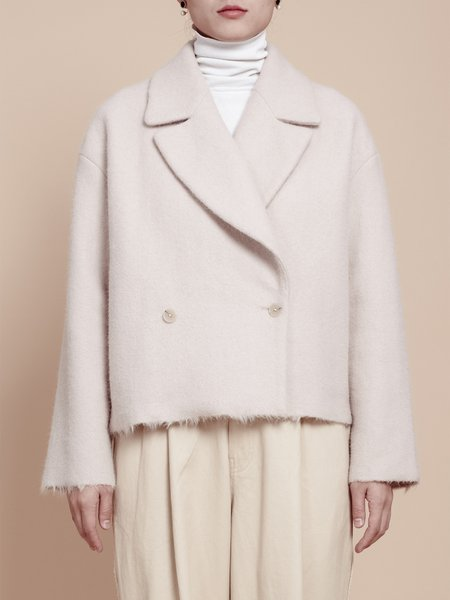 Apricot Buttoned Long Sleeve H-line Cropped Jacket
