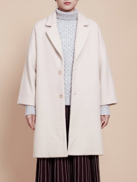 Apricot H-line Lapel Long Sleeve Coat