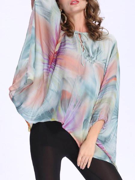 Light Green Printed Batwing Silk-chiffon Blouse