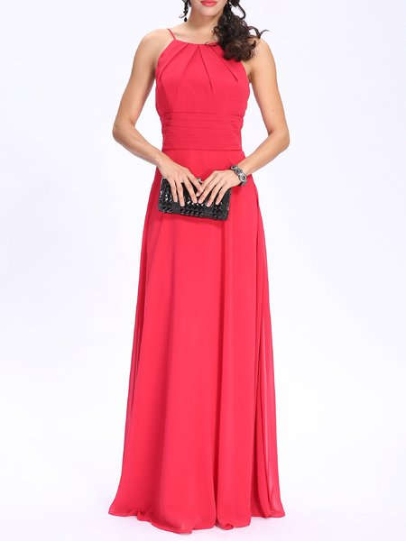 Red Ruffled Elegant Spaghetti Chiffon Evening Dress