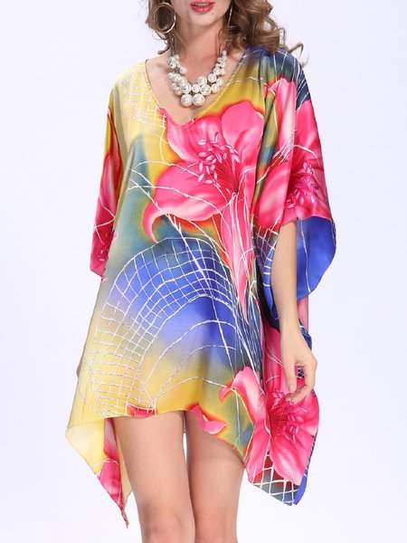 Floral-print Batwing V Neck Casual Silk Blouse