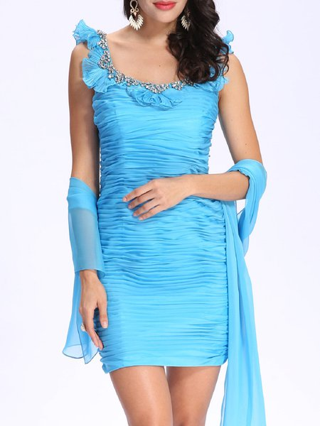 Blue Beaded Elegant Pleated Bodycon Mini Dress