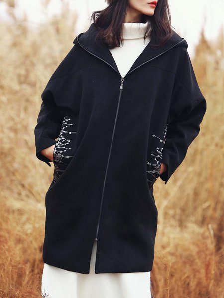 Black Long Sleeve Embroidered Hoodie Coat