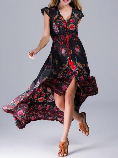 Black Printed High Low Short Sleeve Vintage Maxi Dress