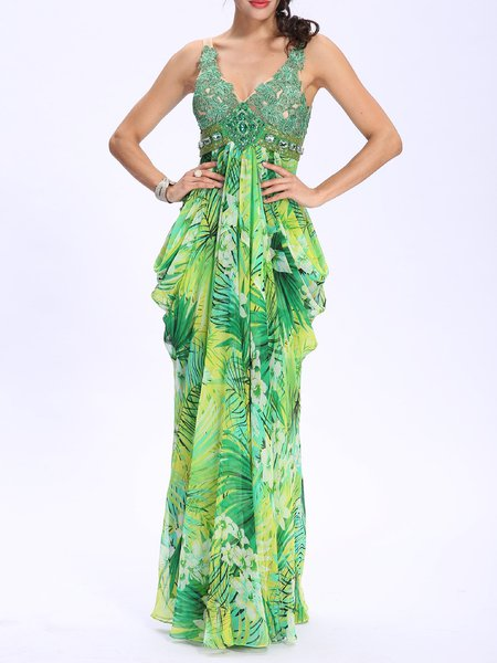 Green Floral-print Plunging Neck Beaded Chiffon Evening Dress