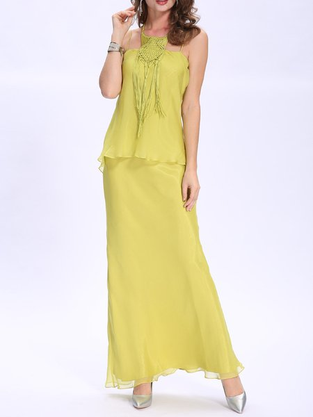 Yellow Vintage Weave Breezy Low-cut Chiffon Evening Dress