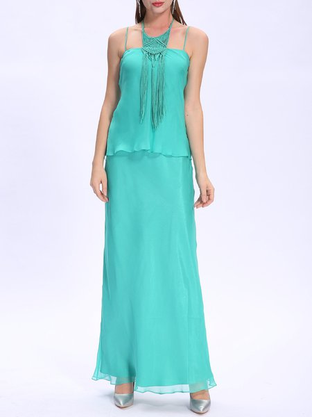 Green Vintage Weave Breezy Low-cut Chiffon Evening Dress