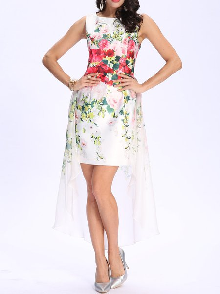 White Chiffon Asymmetrical Floral Sweet Midi Dress