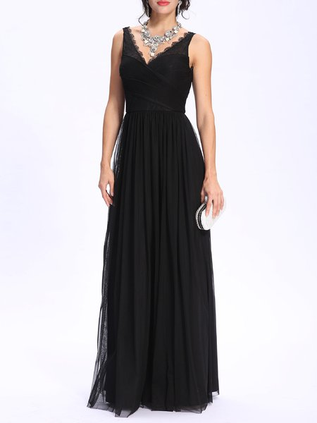 Black V Neck Mesh Pleated Elegant Evening Dress