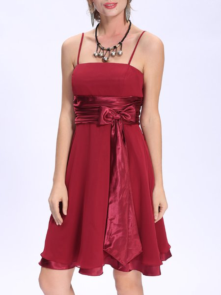 Burgundy Bow-tied Solid Elegant A-line Party Dress
