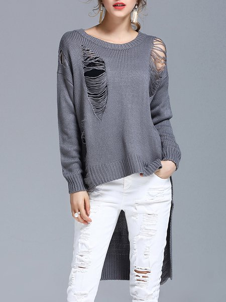 Gray Ripped Knitted Casual High Low Sweater