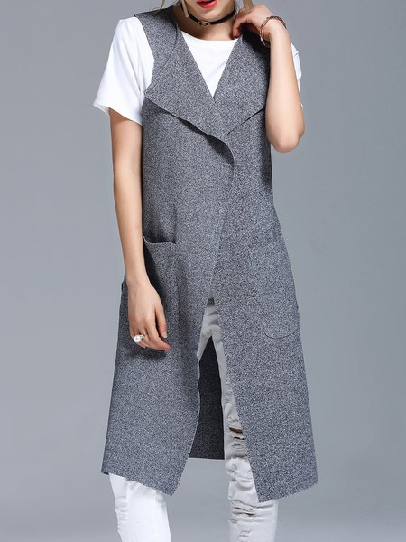 Gray Casual Slit Knitted Vests And Gilet