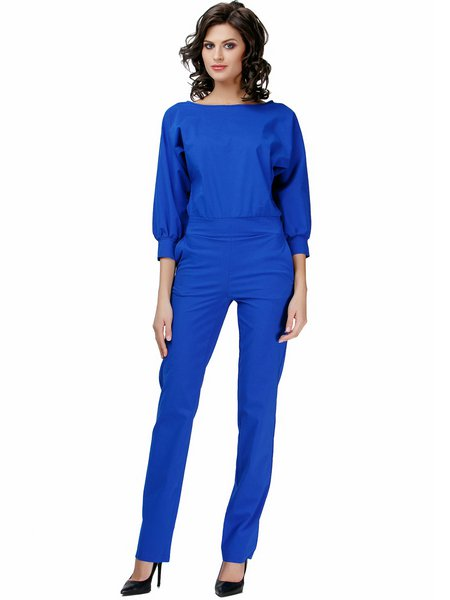 Blue Business 3/4 Sleeve Pockets Solid Cotton-blend Jumpsuit