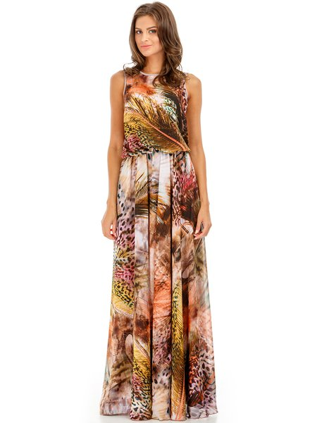 Multicolor Chiffon Sleeveless Printed Romantic Maxi Dress