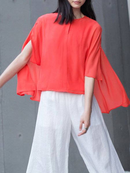 Red Asymmetrical Solid Simple Tops