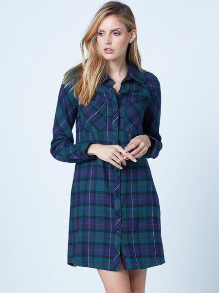 Green Plaid Pockets Long Sleeve Shirt Dress