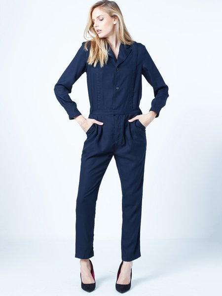 Blue Pockets Casual Shirt Collar Solid Long Sleeve Jumpsuit