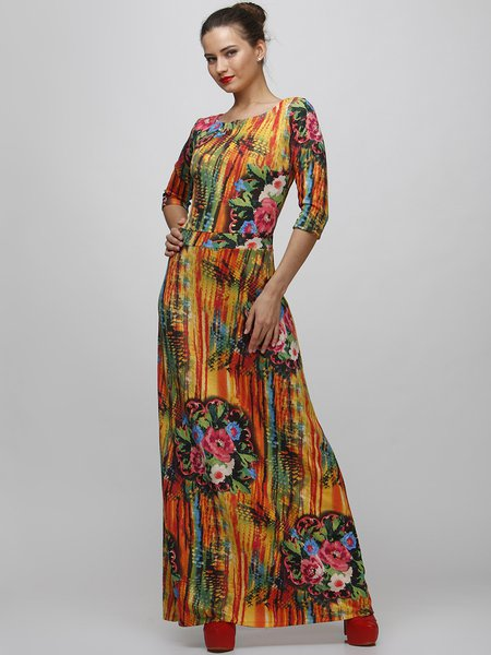 Multicolor Casual Printed Wool Blend A-line Maxi Dress - StyleWe.com