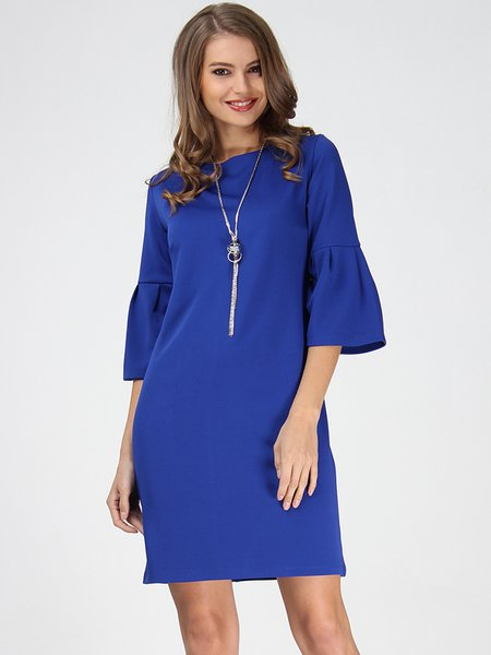 Royal Blue Bell Sleeve Simple Jersey H-line Midi Dress
