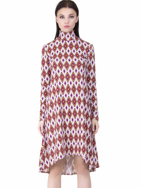Burgundy Geometric Asymmetric Long Sleeve A-line Midi Dress