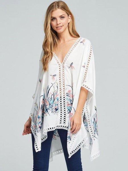 White Lace Trim Rayon V Neck Printed Batwing Kimono
