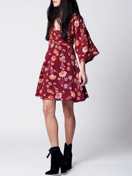 Open Back Floral-print Boho V Neck 3/4 Sleeve A-line Kimono Holiday Dress