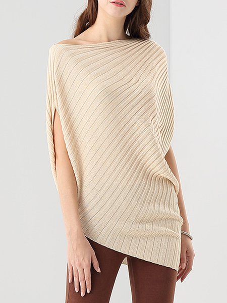 Acrylic Casual Asymmetrical Plain Tunic