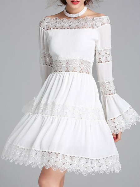 Girly Slash Neck Frill Sleeve Pierced Party Dress