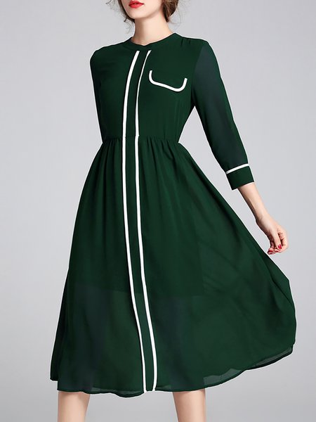Binding Casual 3/4 Sleeve A-line Crew Neck Midi Dress