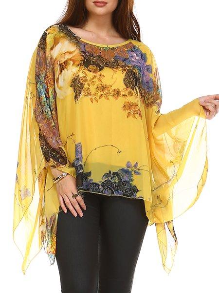 Yellow Elegant Printed Polyester Tunic