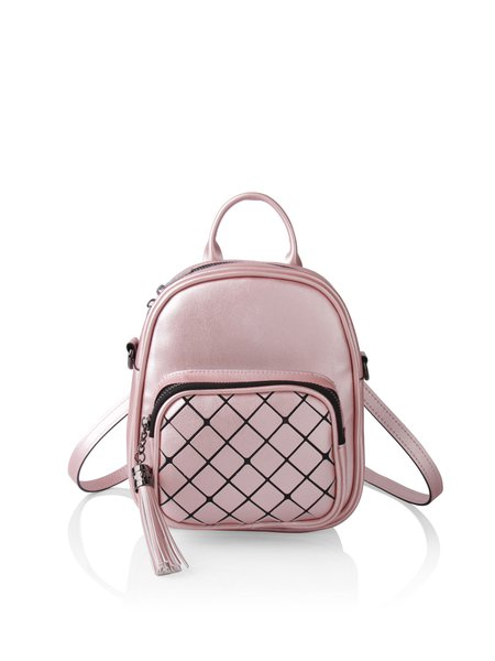 Pink Zipper Casual Backpack with Tassel