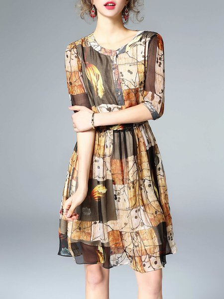 Yellow Silk Printed 3/4 Sleeve Crew Neck Midi Dress