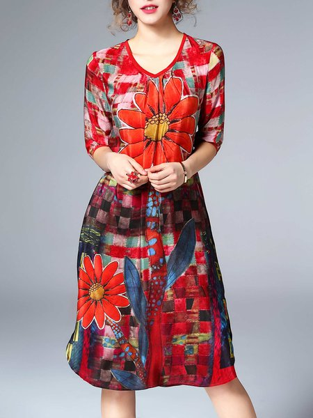 A-line 3/4 Sleeve Silk Floral Casual Midi Dress