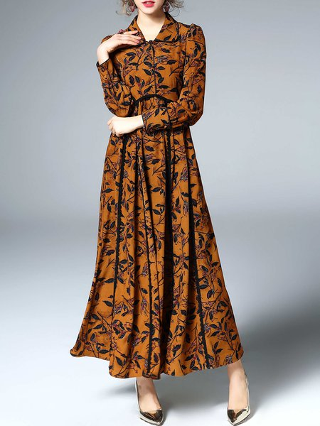 Printed Shirt Collar A-line Long Sleeve Maxi Dress