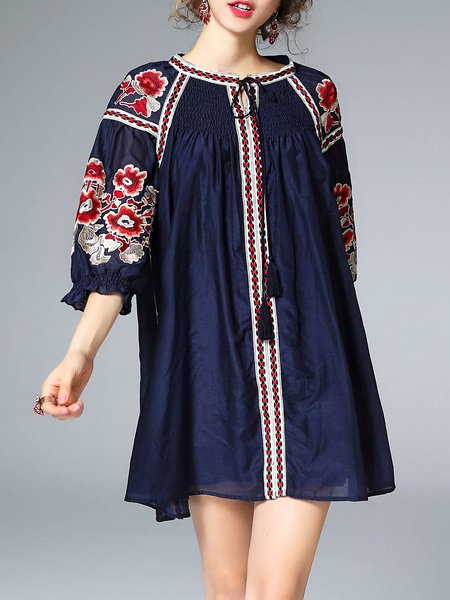 Frill Sleeve Vintage Floral-embroidered Cotton-blend Tunic