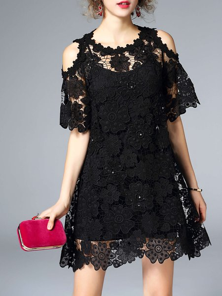 Black Girly A-line Crew Neck Crocheted Lace Pierced Mini Dress With Camis