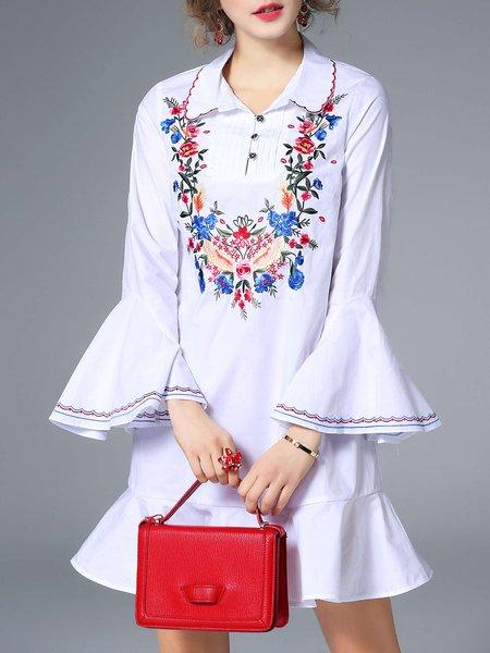Mermaid Floral-embroidered Trumpet Sleeve Shirt Collar Vintage Mini Dress