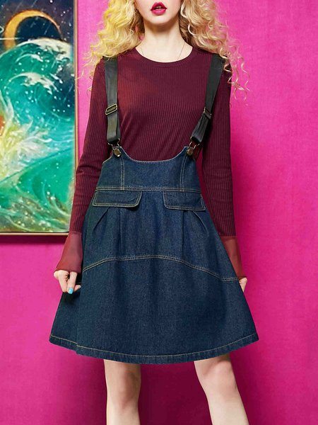 Casual Spaghetti Crew Neck Denim Zipper Mini Dress