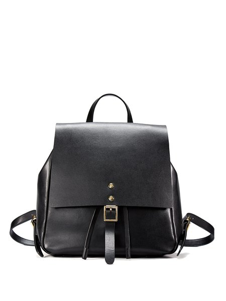 Black Solid Split Leather Magnetic Backpack