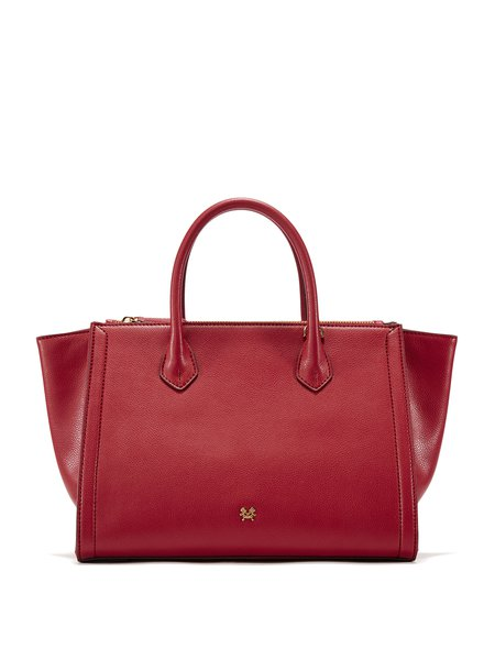 Red Large Solid Pebbled Leather Magnetic Simple Tote