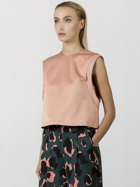 Coral Solid Paneled Sleeveless Satin Gabardine Cropped Top